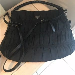 "Prada ""Turchese"" Black Nylon & Leather Tote Bag"